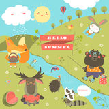 Set of cartoon characters and summer elements Royalty Free Stock Images