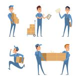 Set of cartoon characters at work of delivery service. Cartoon character worker, courier with package, postman mailman job, vector illustration Stock Photo