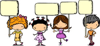 Set cartoon children with banners,vector Stock Image