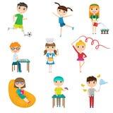 Set cartoon children with different hobbies against white background vector illustration