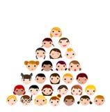 Set of cartoon children face Stock Images