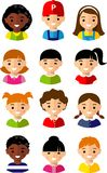 Set of cartoon children face Royalty Free Stock Image