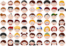 Set of cartoon children head Stock Photography