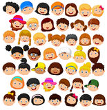 Set cartoon children head Royalty Free Stock Photo