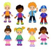 Set cartoon children, pupils. Happy kids. Stock Photos