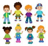 Set cartoon children, pupils. Happy kids. Royalty Free Stock Photo