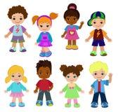Set cartoon children, pupils. Happy kids. Stock Photography