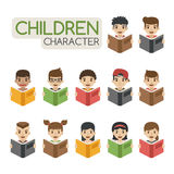 Set of cartoon children reading books Royalty Free Stock Image