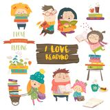 Set of cartoon children reading books. Vector collection Royalty Free Stock Photos