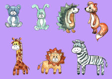 A set of cartoon children`s animals Royalty Free Stock Photo