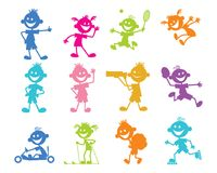 Set of cartoon children Royalty Free Stock Photos