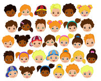 Set of cartoon children's faces. Cartoon child face icon Stock Photo
