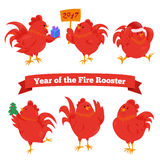 Set of cartoon chinese zodiac fire rooster. Royalty Free Stock Photography