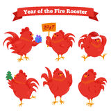 Set of cartoon chinese zodiac fire rooster. Vector illustration for holiday design. 2017 New year symbol. Red color. China lunar decoration. Oriental sign Stock Image