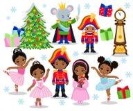 Set cartoon christmas characters for fairy tale Nutcracker Stock Photo