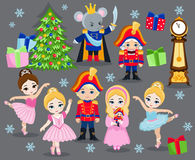 Set cartoon christmas characters for fairy tale Nutcracker. Royalty Free Stock Images