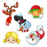 Set of cartoon Christmas characters. Vector cartoon head icons. Of Santa Claus, reindeer, elf, snowman and angel Royalty Free Stock Image