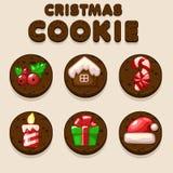 Set Cartoon Christmas Chocolate biskvit cookies, food icons Stock Photo