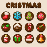 Set Cartoon Christmas Chocolate biskvit cookies, food icons Royalty Free Stock Image