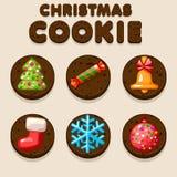 Set Cartoon Christmas Chocolate biskvit cookies, food icons Stock Images
