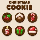 Set Cartoon Christmas Chocolate biskvit cookies, food icons Stock Photography