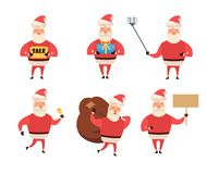 Set of cartoon Christmas illustrations isolated on white. Funny happy Santa Claus character with gift, bag with presents. Waving and greeting. For Christmas Royalty Free Stock Images