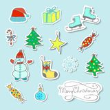Set Of Cartoon Christmas Stickers. With Cute Characters And Christmas attributes Royalty Free Stock Photography