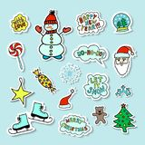 Set Of Cartoon Christmas Stickers. With Cute Characters And Christmas attributes Stock Photo