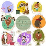 Set with cartoon circus. Characters royalty free illustration