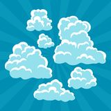 Set of cartoon clouds on sky and rays Royalty Free Stock Photography