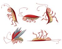 Set of cartoon cockroaches Royalty Free Stock Images