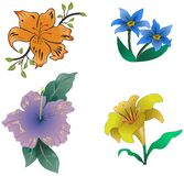Set of cartoon colored flowers Royalty Free Stock Image