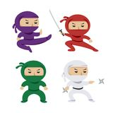 Set of the cartoon colored ninjas with katana sword, martial arts poses. Vector clip art illustration. royalty free illustration