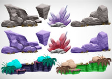 Set of cartoon colored stones for use in the game Royalty Free Stock Photos