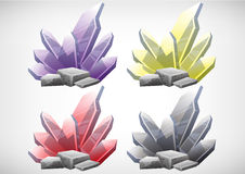 Set of cartoon colored stones for use in the game Stock Image