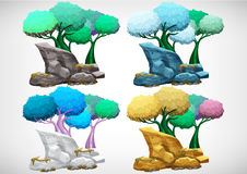Set of cartoon colored tree for use in the game and animation Royalty Free Stock Images