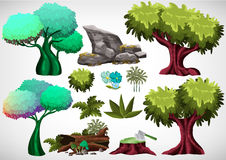 Set of cartoon colored tree for use in the game and animation Royalty Free Stock Image