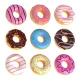 Set of cartoon colorful donuts isolated on white background. Doughnuts collection into glaze for menu design, cafe