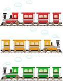 Set cartoon colorful train Stock Images