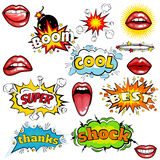 Set of cartoon comic super speech bubble labels with text, sexy open red lips with teeth, retro cartoon vector pop art. Illustration, halftone dot vintage Royalty Free Stock Photo