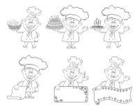 Set of cartoon cooks, chefs, outline Stock Photo