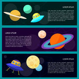 Set with cartoon cosmic ufo and funny planets in open space Stock Photo