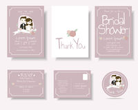 Set of Cartoon Couple Wedding Invitation Card.Pink Concept. Royalty Free Stock Images