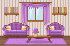 Set cartoon cushioned furniture, violet Living room Stock Images