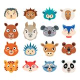 Set of cartoon cute baby animal faces isolated. On white background. Collection of wild and domestic animals including squirrel, panda, fox, kangaroo, goat Royalty Free Stock Photos