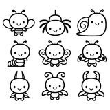 Set Of Cartoon Cute Bugs Isolated Royalty Free Stock Image