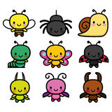 Set Of Cartoon Cute Bugs Isolated Royalty Free Stock Images