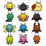 Set Of Cartoon Cute Bugs Isolated Stock Image
