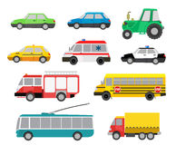 Set of cartoon cute cars and special vehicles. vector illustrati Stock Images