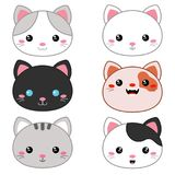 Vector illustration of animal faces. Set of cartoon cute cat faces on white background Stock Images